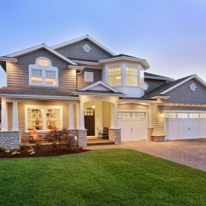 Well lit Home with Front Lawn