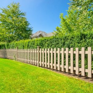 lawn with pick-it fence and trimmed hedge border